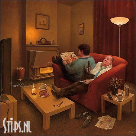 Als het buiten stormt – kunstkaart Marius van Dokkum