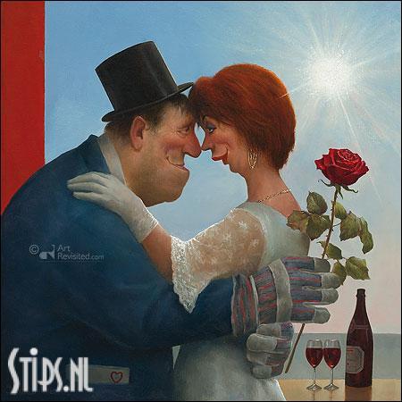 Boer trouwt vrouw – kunstkaart Marius van Dokkum