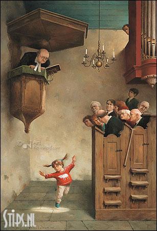 Dansje in de kerk – kunstkaart Marius van Dokkum