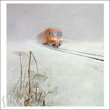 De Blauwe Engel winter – kunstkaart Rein Pol
