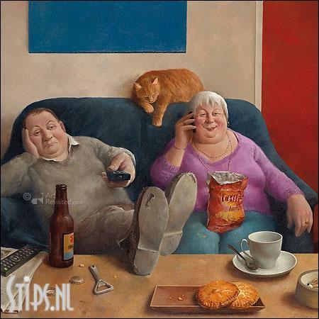 Familie aan de lijn – kunstkaart Marius van Dokkum