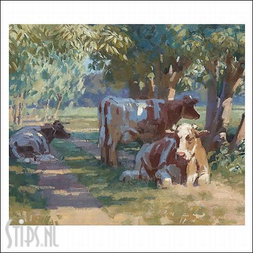 Koeien onder bomen – kunstkaart Hans Versfelt
