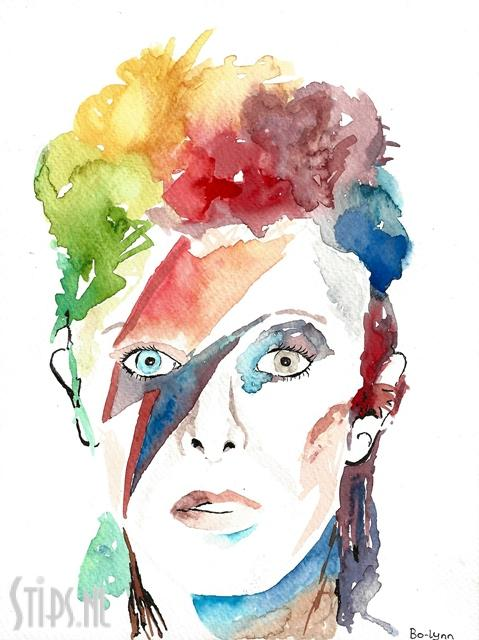 David Bowie - Bo-Lynn - Aquarel op canvas