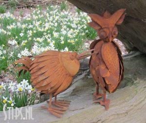 Paradijsvogel en Uil - – roestig ijzer – Momento di Ferro