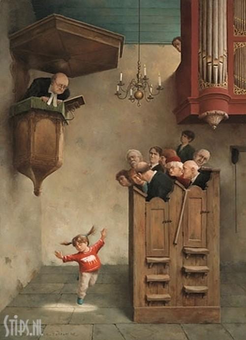 Dansje in de kerk – Marius van Dokkum – giclee
