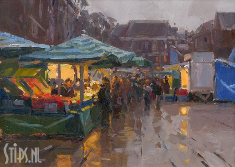 Vismarkt bij regen – Hans Versfelt – giclee