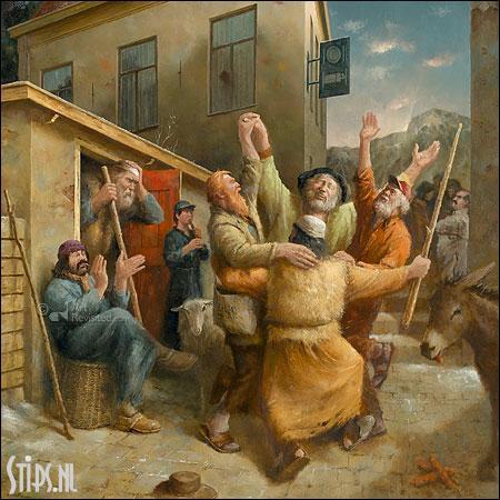 Dans van de herders – kunst kerstkaart Marius van Dokkum