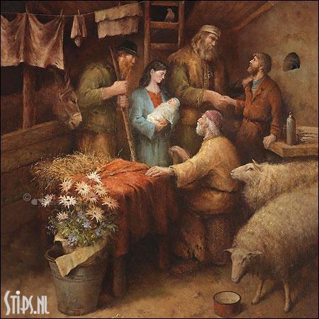 Het bezoek van de herders – kunst kerstkaart Marius van Dokkum