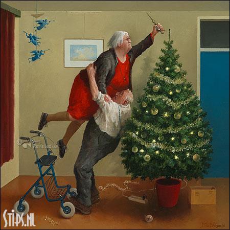 Kerstengeltjes – kunst kerstkaart Marius van Dokkum