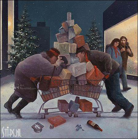 Kerststress – kunst kerstkaart Marius van Dokkum