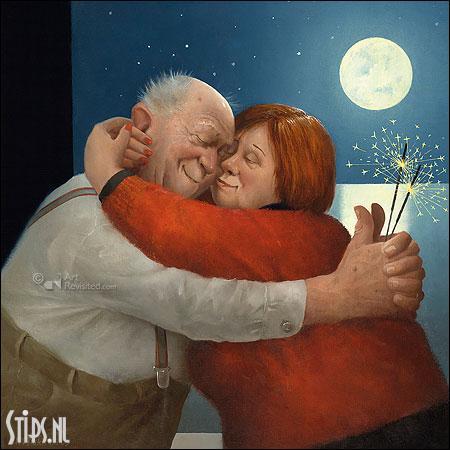 Spetterende liefde – kunst kerstkaart Marius van Dokkum