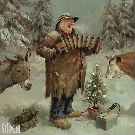 Stille Nacht – kunst kerstkaart Marius van Dokkum