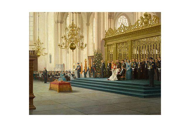 Inhuldiging Koningin Beatrix, 30 april 1980 in de Nieuwe Kerk (detail) – jaarkalender 2018 helmantel