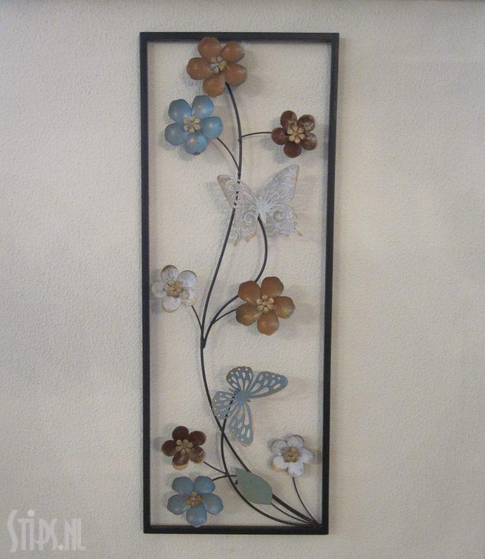 vlinders en bloemen – metalen wanddecoratie