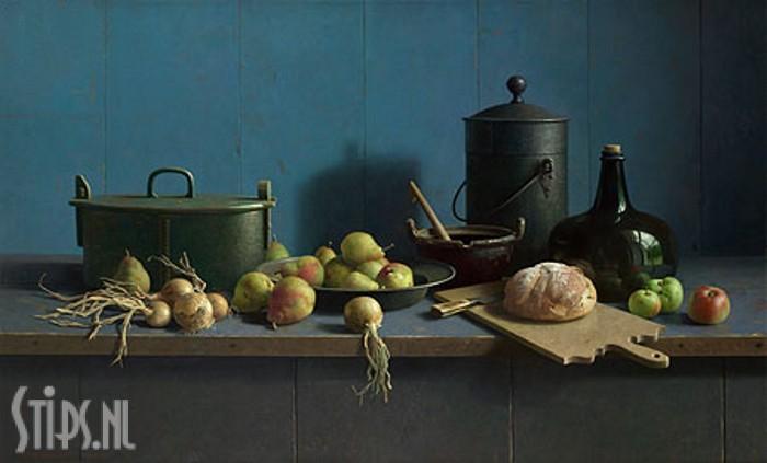 Stilleven met fruit en brood tegen blauw – Henk Helmantel – giclee