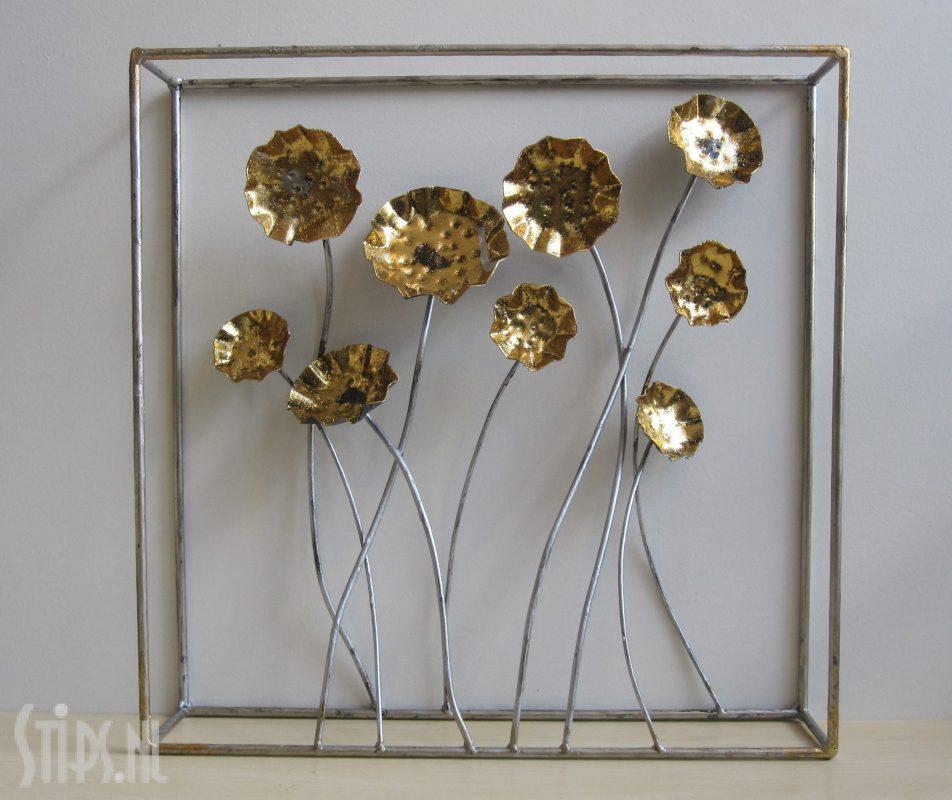 metalen 3D decoratie klaprozen goud