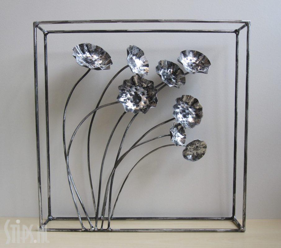 metalen 3D decoratie klaprozen zilver
