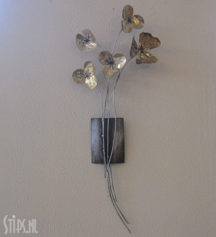 metalen wanddecoratie golden flowers