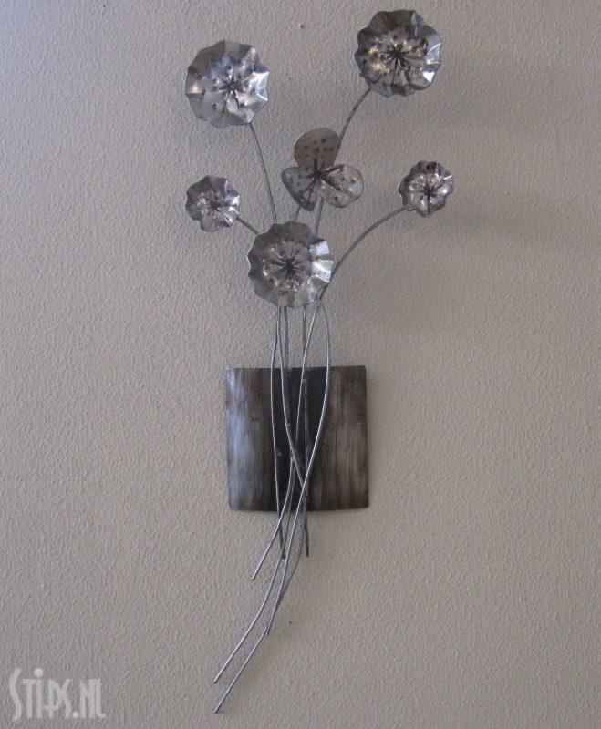 metalen wanddecoratie silver flowers