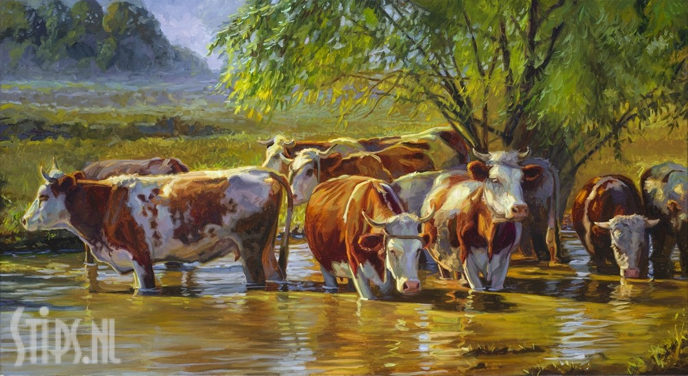 Roodbont vee onder wilg – Jan van 't Hoff – giclee