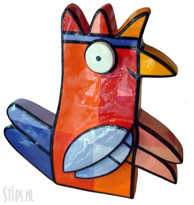strange bird large A orange red – jacqueline-schaefer