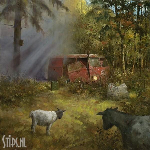 Rokend geitenhok – Marius van Dokkum – giclee