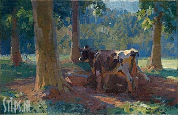 Onder de bomen, koe bij drinkbak- Hans Versfelt