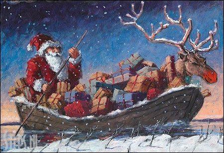 Xmas Boart – kunst kerstkaart Peter Wever