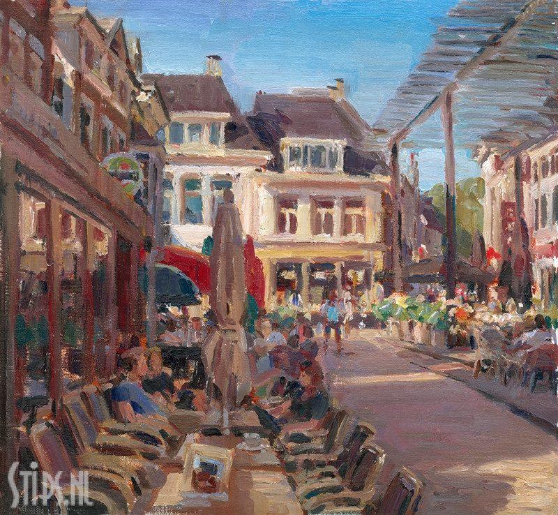 Terras bij zonnige dag, Poeleplein – Hans Versfelt