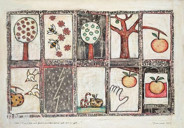About birds and bees and flowers and trees and an apple - Hans Innemee - giclee